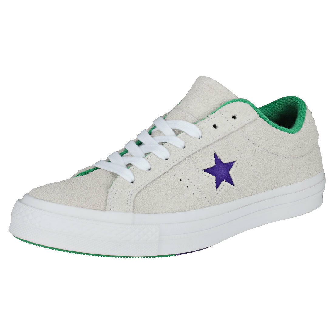 Converse One Star Ox Mens White Purple Suede Trainers - 8 UK