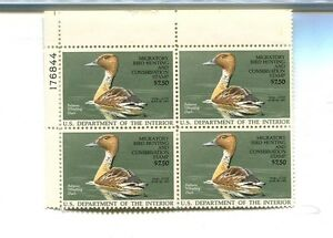 RW53 $7.50 DUCK STAMP 1987 PLATE BLOCK OF 4 WITH PLATE NUMBER MNH 696H