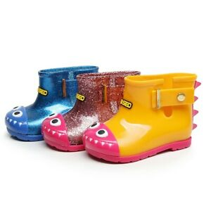 Kids Girls Boy Baby Rain Boots Rubber Waterproof Wellies Shoes Cartoon Children