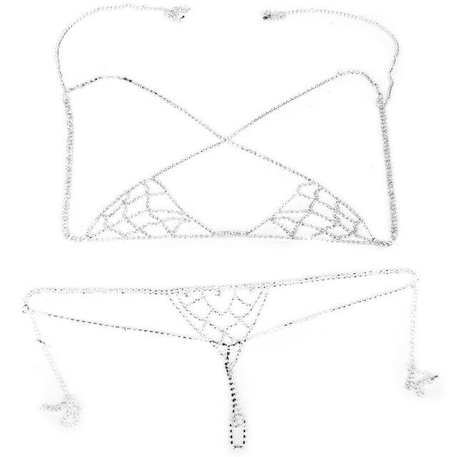 Sexy Bikini Jewelry Rhinestone Chain Bra Lingerie Halter Top Body Chain Set K3O8