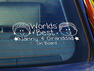 Static Cling Window Car Sign//Decal Our Grandsons on Board 100 x 250mm