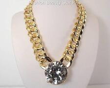 Jumbo Glass Stone Crystal Necklace - Gold Tone