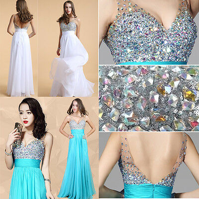 PLUS Chiffon Sequins Sexy Long Formal Cocktail Evening Bridal Prom Party Dresses