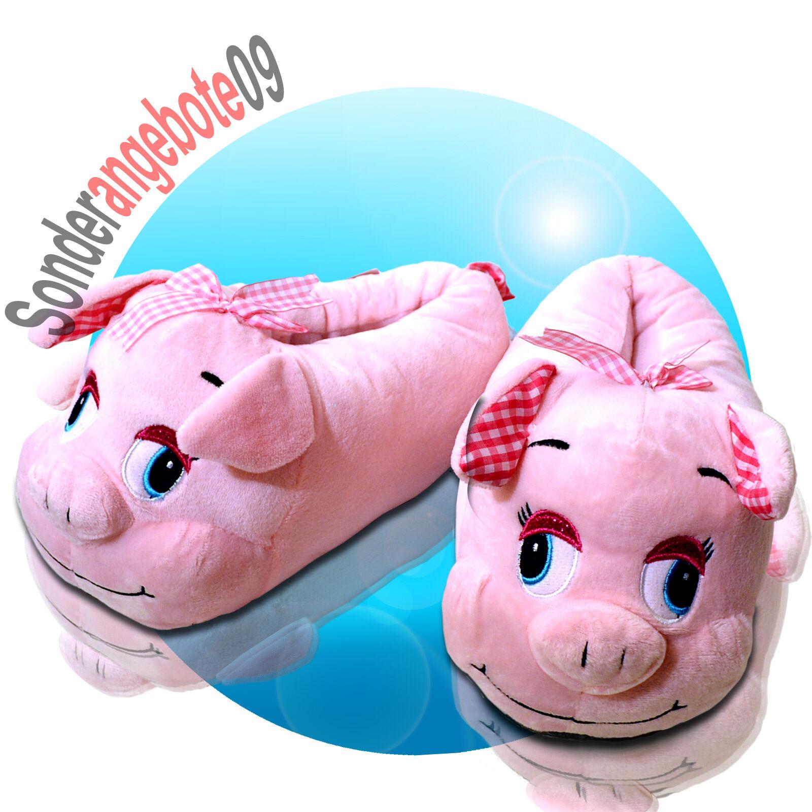 Tier Hausschuhe Schwein rosa 36 - 41 Schlappen Fuß Foot Schuh Pig Damenschuh