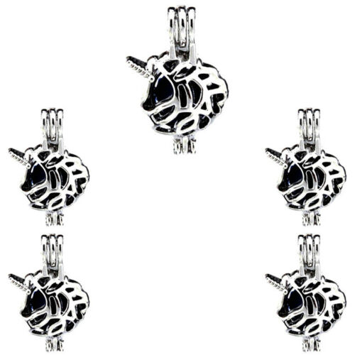 5X-K453 corne licorne Perles Perle Cage Stone Rock Cage médaillon pendentif diffuseur