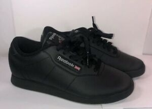 Propio Fobia zorro  Reebok Princess Black Classic Leather Sneakers Shoes Size 6.5 | eBay