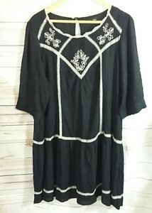 NEXT-Womens-Dress-UK-18-Black-Cream-Boho-Hippy-Tunic-Lace-Embroidered-Floral