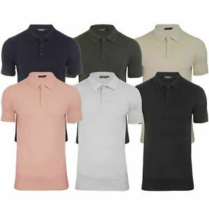 Mens-Knitted-Polo-Brave-Soul-Columbus-Collared-Short-Sleeve-Jumper-T-Shirt