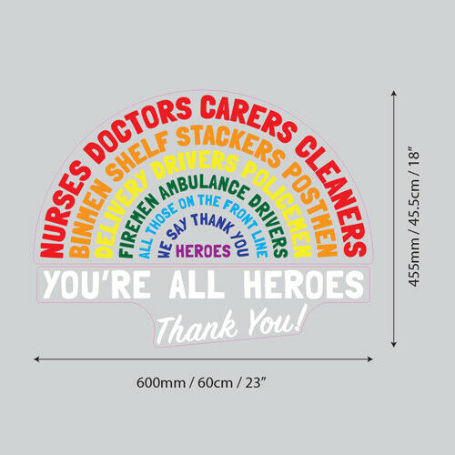 Front Line Workers You/'re All Heroes Thank You Window Glass Self Cling Vinyl