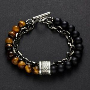 Tiger Eye Beaded Natural Stone Bracelet Bangle Stainless Steel Chain Men Gifts