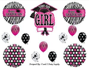 Graduation zebra girl balloon decorations supplies class for Balloon decoration classes