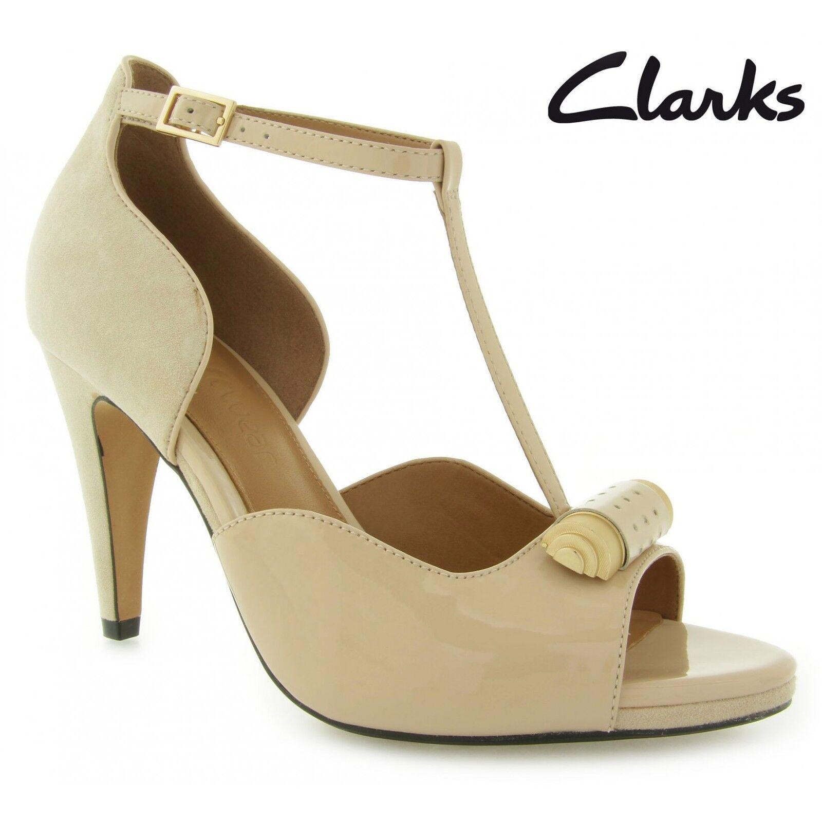 Clarks Damen Leder Saxen Vorhang Hautfarbe Lack Leder Damen UK 3,4,5,6,7,8 862e33