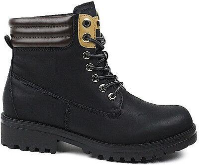 Damen Boots Worker Biker Stil flache Winterschuhe Schuhe Damenschuhe rutschfest