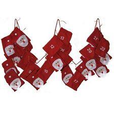 Weihnachtsmann-Adventskalender Advents-Kalender XXL aus Stoff mit großen Taschen