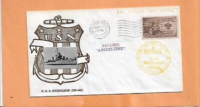 Usa Briefmarken U.s.s.nicholson Umbenannt Artigliere 1951 Marine Abdeckung