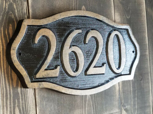 Brass Finished House Numbers Carved Sign Address Plaque Wood