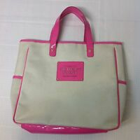 """Victoria's Secret Love Tote Hand Bag Beige Tan and Pink """"The Sexiest on Earth"""""""