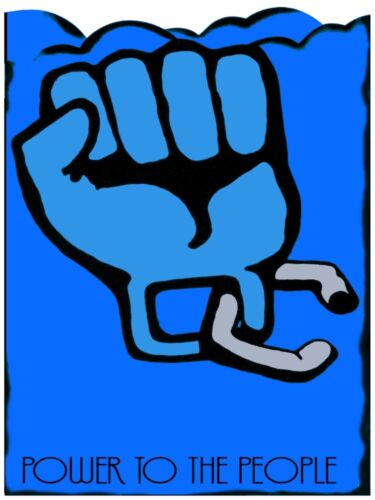 5811.Power to the people.slave hand with chain on wrist.POSTER.Home Office art