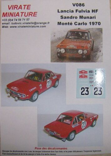 V086 LANCIA FULVIA HF RALLYE MONTE CARLO 1970 SANDRO MUNARI DECALS VIRATE