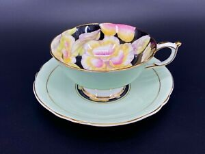 Paragon-S6600-Light-Green-Pansy-Tea-Cup-Saucer-Set-England-Bone-China