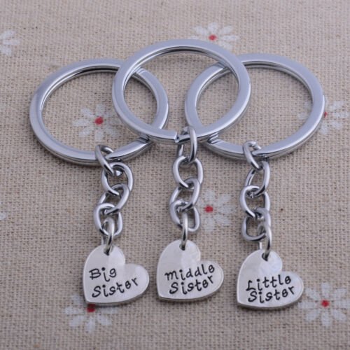 3 Silver Heart Sisters Keyring Best Friends  Xmas Jewellery Gifts For Her