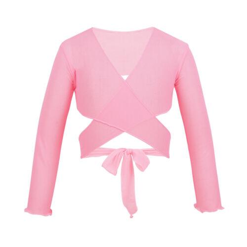 Kids Girls Classic Ballet Dance Cardigan Top Wrap Sweaters Shrug Shawl Dancewear