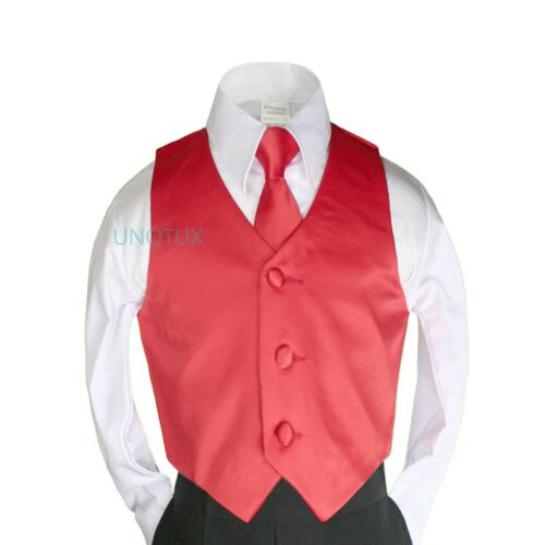 8-20 23 Satin color Vest Long Tie Necktie Formal Boys Teens Tuxedo Suits Size