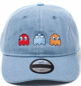 Image is loading Pac-man-Embroidered-Ghosts-Stone-Washed-Denim-Dad- b4893254ba45