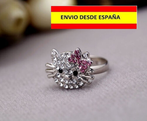 ANILLO SORTIJA ARO HELLO KITTY AJUSTABLE DAMAS NIÑAS MUY BELLO Y VISTOSO