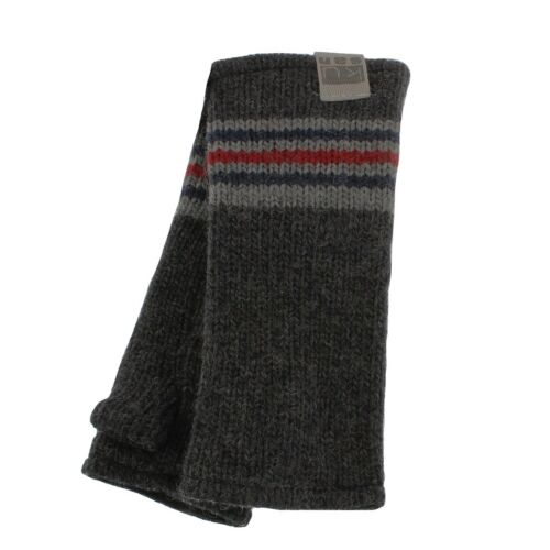PK1319 Kusan 100/% LANA a Maglia Grigio a Coste Lana handwarmers//guanti senza dita