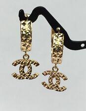 18k Solid Yellow Gold Cute Dangle Hoop Earrings, Diamond Cut 3.0 Grams