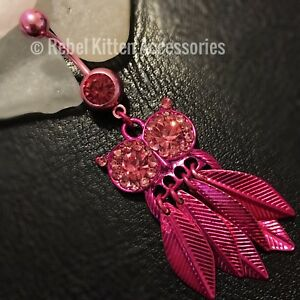 14g-Cz-Dangle-Pink-Sparkle-Owl-Boho-Navel-Belly-Button-Ring-Piercing