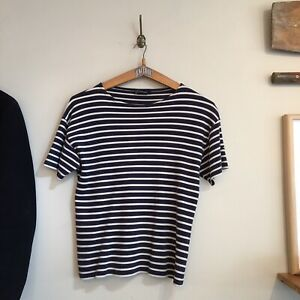 Armor-Lux-French-100-Cotton-Navy-White-Stripe-Breton-Tee-Shirt-Small-Medium