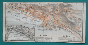 1934-MAP-4-x-8-034-10-x-20-cm-CROATIA-Plan-City-of-Rijeka-Fiume-amp-Susak