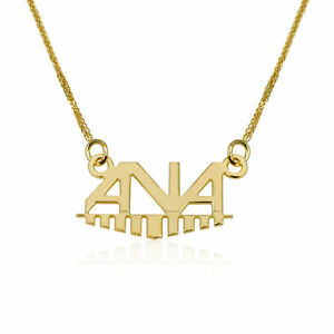 06983b183 Image is loading Customized-Name-Necklace-Gift-14K-Yellow-Gold-Spiga-