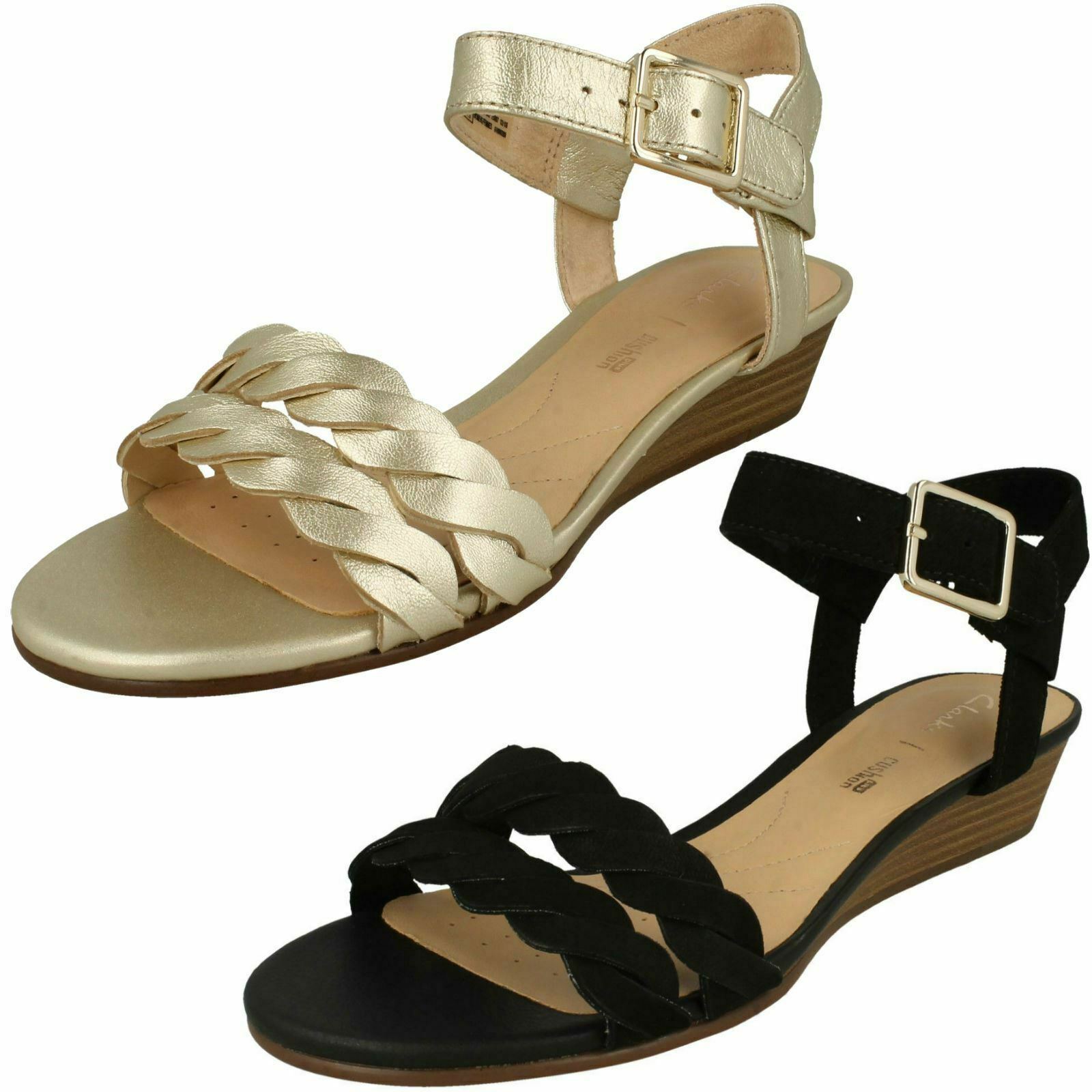 Ladies Clarks Mena Blossom Smart Leather Low Wedge Heel Sandals - D Fitting
