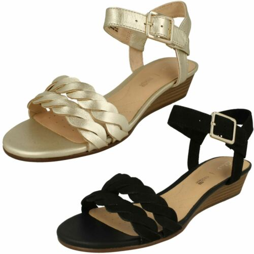Smart gold Sandals Low Blossom Champagne Mena Clarks D Heel Ladies Leather Wedge Fitting q1SBtw7n