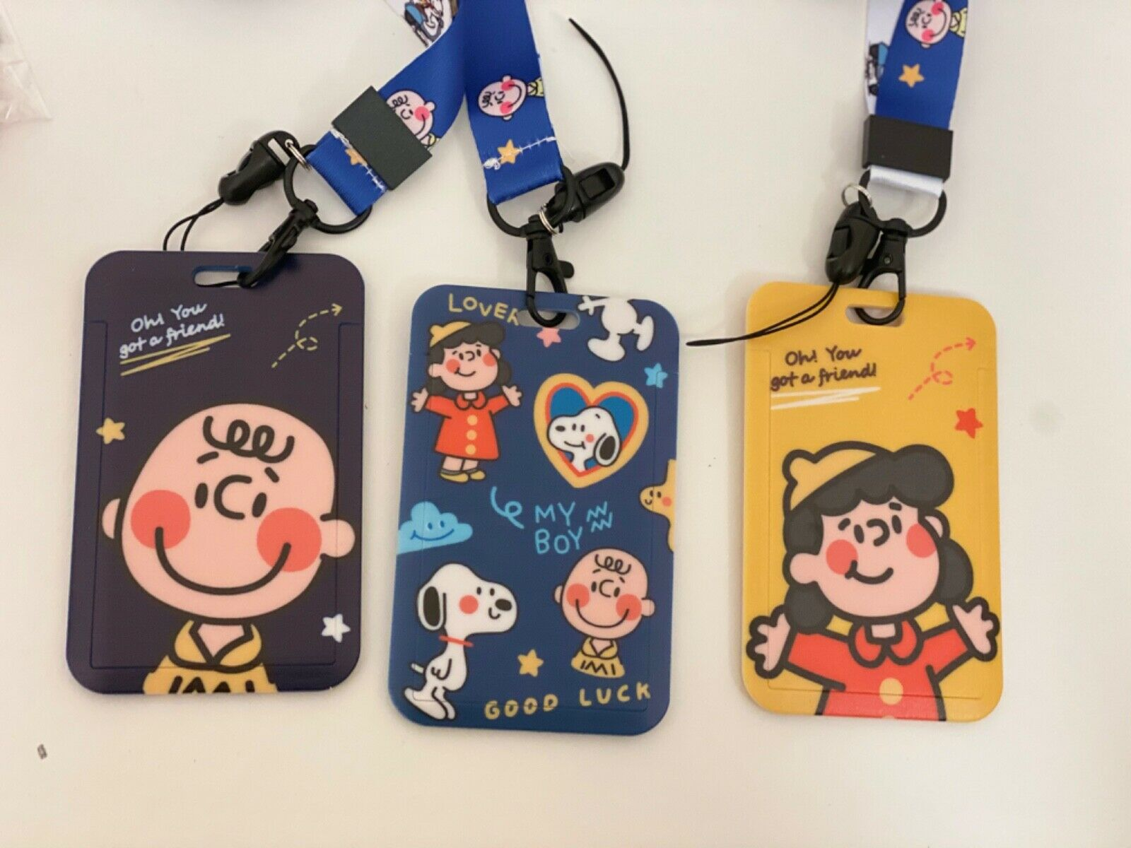Cute Retro 80sSnoopy Charlie Lucy ID Phone neck strap CARD HOLDER MINI PURse