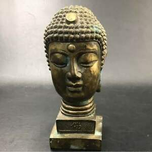 Chinese-art-Brass-old-copper-Tanga-Special-Buddha-head-Statue-From-JAPAN-F-S