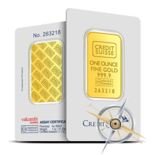 Sealed in Assay Card 1 oz Credit Suisse .9999 Fine Gold Bar//Ingot