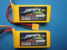 2 ZIPPY COMPACT 1000mAh 3S 11.1V 25-35C LIPO BATTERY XT60 HELI PLANE CAR TRUCK