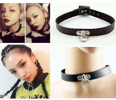 Punk Goth Black Leather Choker Necklace Circle Dangle O-Ring Cosplay Collar #26
