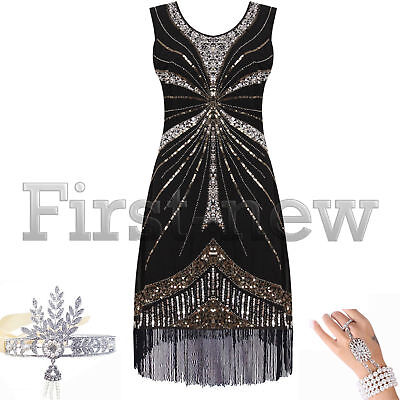1920s Dresses Flapper Dress Great Gatsby Sequins Fringes