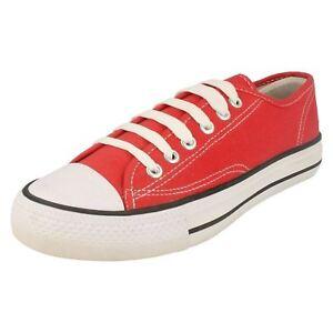 bambini-Ballerine-in-tela-scarpe-Rosso-con-lacci-UK-13-5-ragazze-o