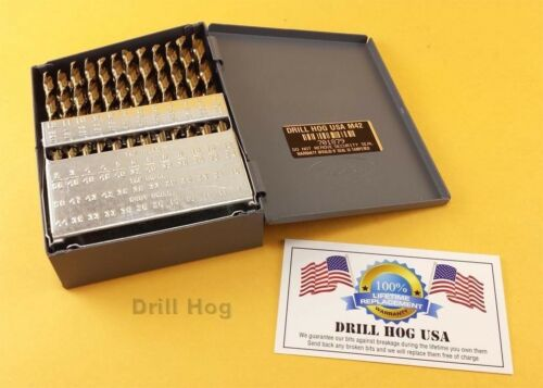Drill Hog USA 60 Pc NUMBER Drill Bit Set Wire Gauge COBALT M42 Lifetime Warranty