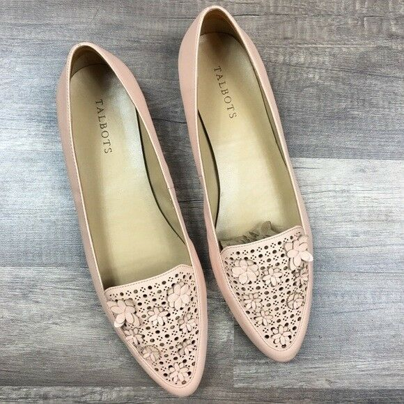 Talbots Pink Floral Detail Driving Flats Loafers