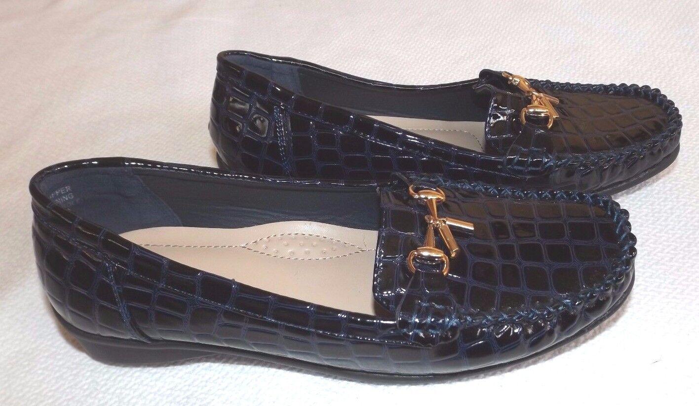 Nuevo Kurt Geiger Reino Unido 6 brillante patente Azul Cocodrilo Patrón Mocasín Zapatos
