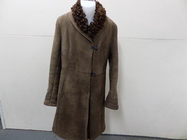 Womens ANTARTEX FULL AFGHAN & LAMBSKIN COAT Size 34  BROWN GOOD SKU No T519
