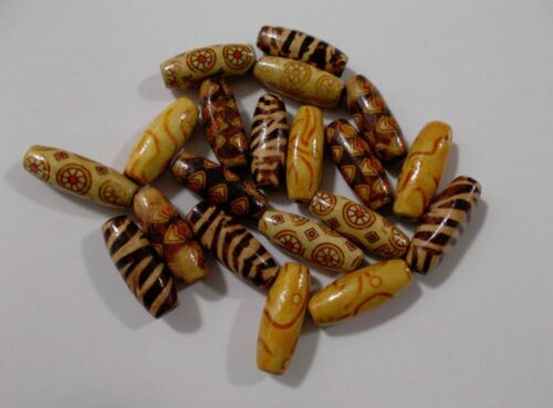 500pcs 23mm x 8mm WOODEN TRIBAL EXOTIC Long Oval Beads Assorted Patterned A23