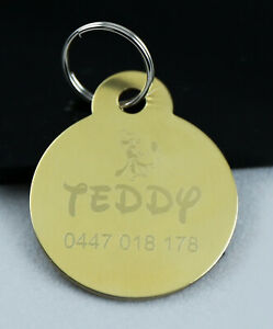 Solid Brass Round Personalised Dog//Pet ID Tag